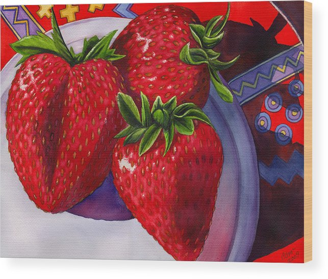 Strawberries Wood Print featuring the painting Berry Berry Berry Good by Catherine G McElroy