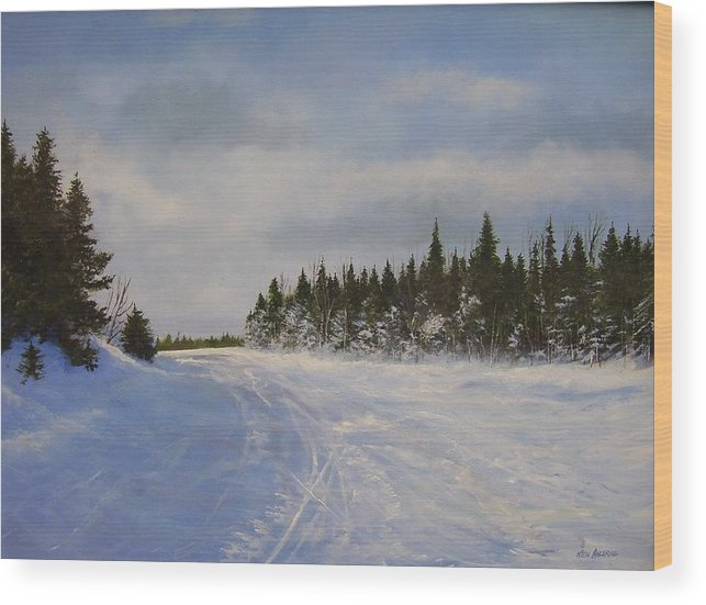 Ski. Snow Wood Print featuring the painting Blackbear Ski Trail by Ken Ahlering