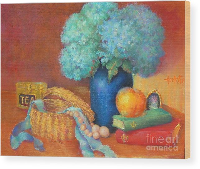 Floral Wood Print featuring the painting Blue Hydrangeas  Copyrighted by Kathleen Hoekstra