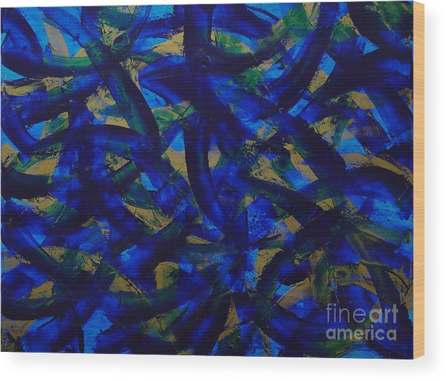 Abstract Wood Print featuring the painting Blue Pyramid by Dean Triolo