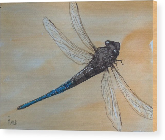 Dragonfly Wood Print featuring the painting Blue Tale by Pete Maier