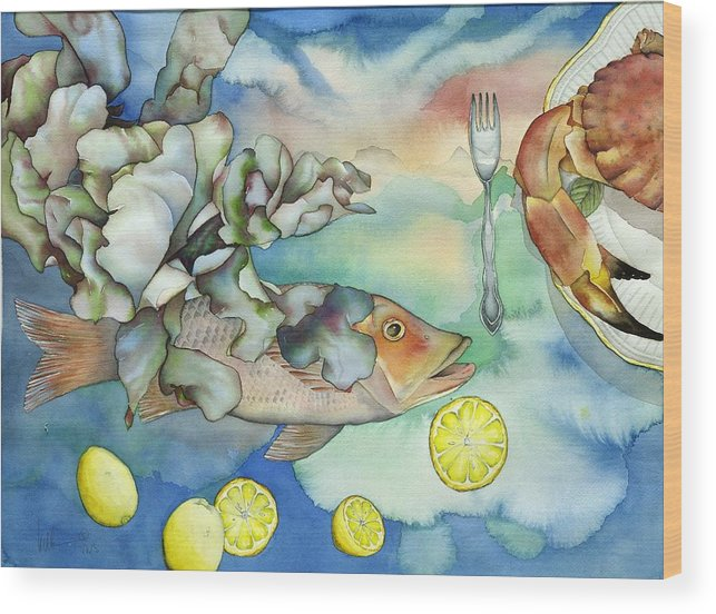 Sealife Wood Print featuring the painting Bon Appetit Together Left Image by Liduine Bekman