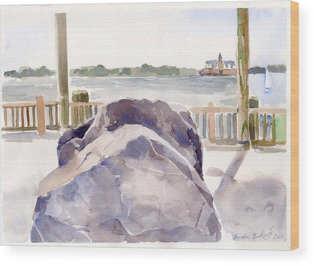 Paintings Wood Print featuring the painting Boulder by Linda Berkowitz