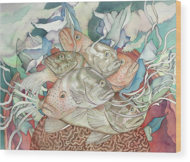 Fish Wood Print featuring the painting Brain Coral Party by Liduine Bekman