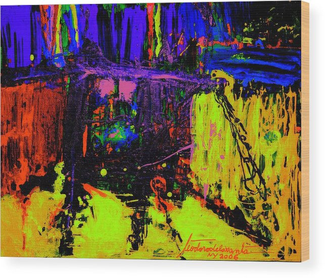 Mixed Media Wood Print featuring the painting Bridge Sudy 5 by Teo Santa