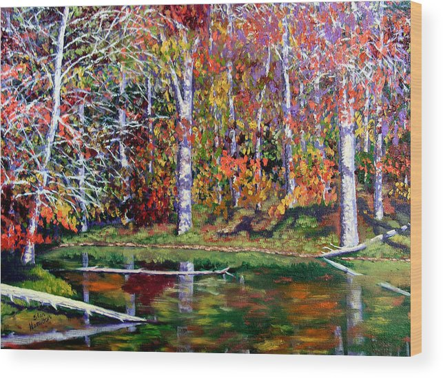 Fall Wood Print featuring the painting Brown County In Fall by Stan Hamilton