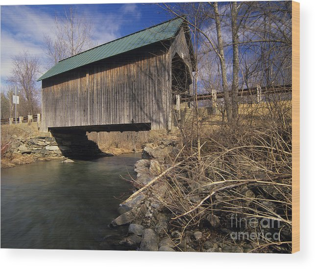 Bridge Wood Print featuring the photograph Brownsville Covered Bridge - Brownsville Vermont by Erin Paul Donovan