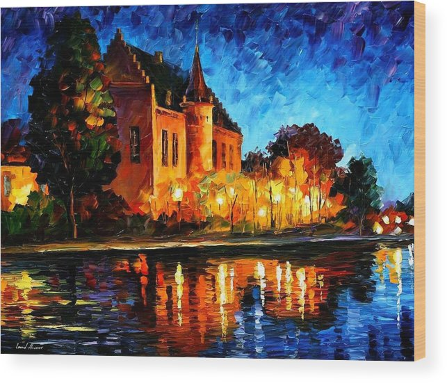 Afremov Wood Print featuring the painting Brussels - Castle Saventem by Leonid Afremov