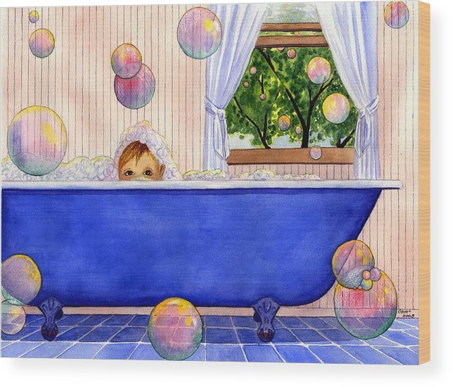 Bath Wood Print featuring the painting Bubbles by Catherine G McElroy