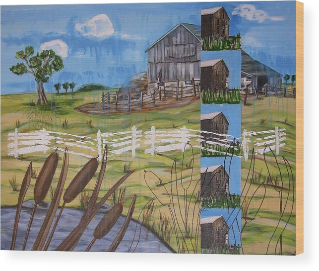 Farms Wood Print featuring the painting Bullrushes by Judy Anderson
