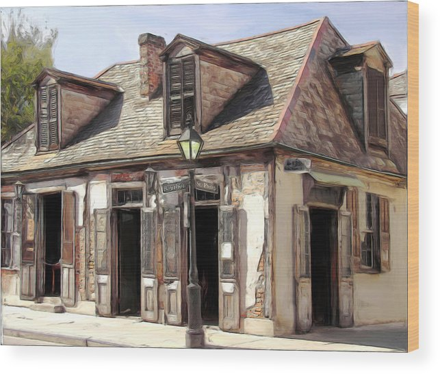 Blacksmith Wood Print featuring the painting Burbon Street Blacksmith by Russell Michael