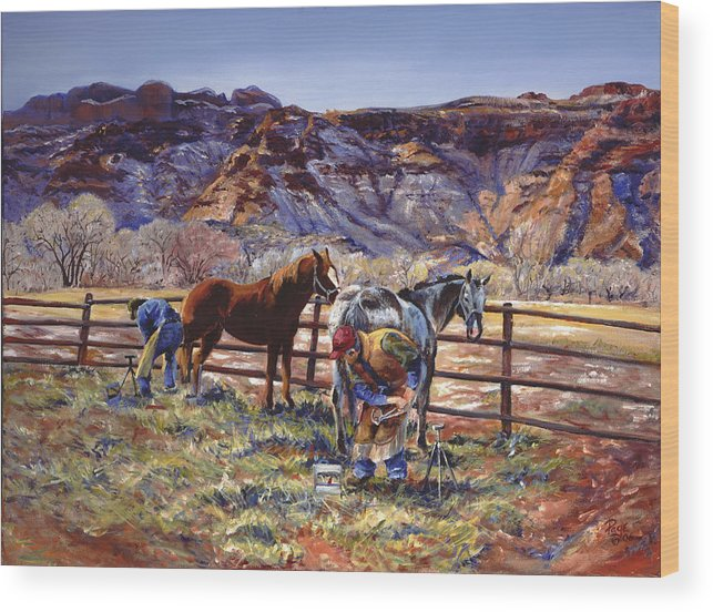Horse Wood Print featuring the painting Butch And Clayton Swapping Shoes And Tales by Page Holland