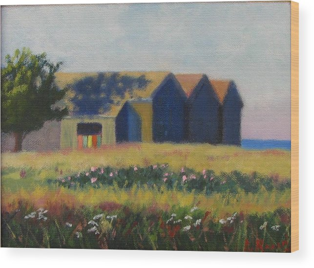 Cabanas Wood Print featuring the painting Cabanas At Jetty Beach by Laura Roberts
