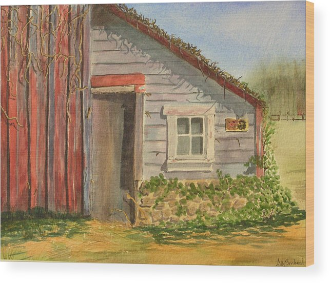 Cabin Wood Print featuring the painting Cabin Fever by Ally Benbrook