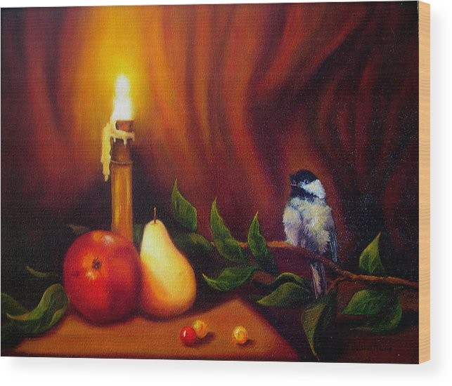 Chickadee Wood Print featuring the painting Candle Light Melody by Valerie Aune