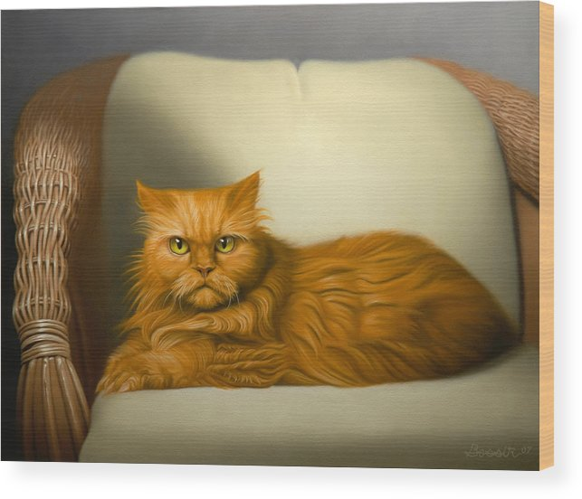 Cats Wood Print featuring the painting Cat Portrait Of Tosca by Eric Bossik