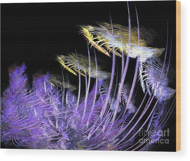 Digital Wood Print featuring the digital art Celestial Flowers by Thomas Smith