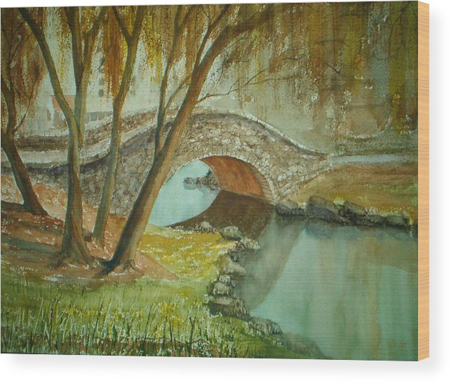 Landscape Wood Print featuring the painting Central Park Overpass by Shirley Braithwaite Hunt
