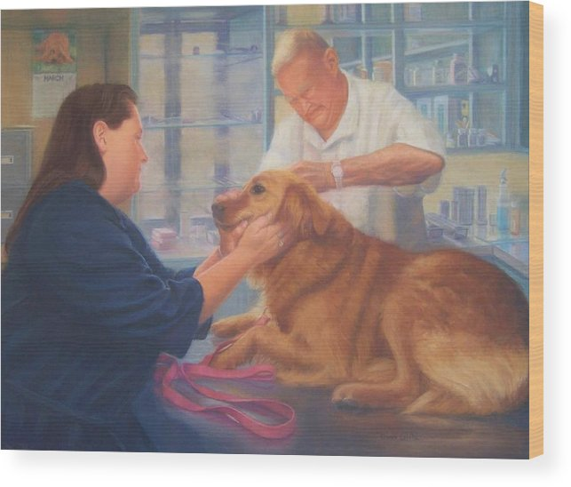 Charlie Wood Print featuring the painting Charlie And The Vet by Diane Caudle