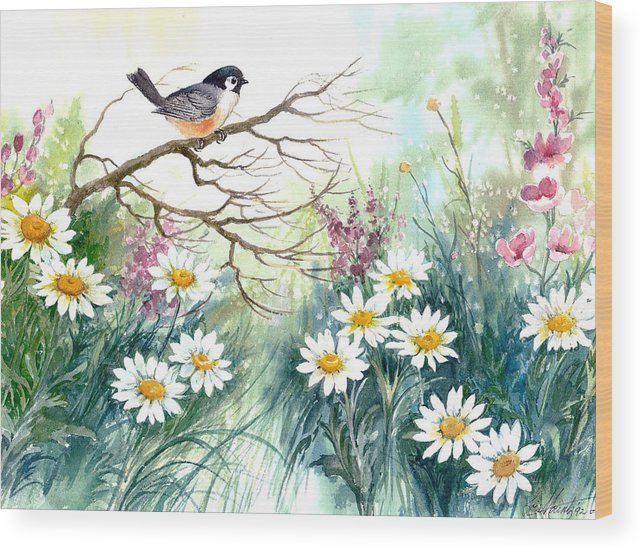Chickadee;birds;daisies;floral;watercolor Painting; Wood Print featuring the painting Chickadee And Daisies by Lois Mountz