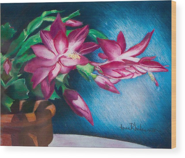 Floral Wood Print featuring the painting Christmas Cactus by Anne Rhodes