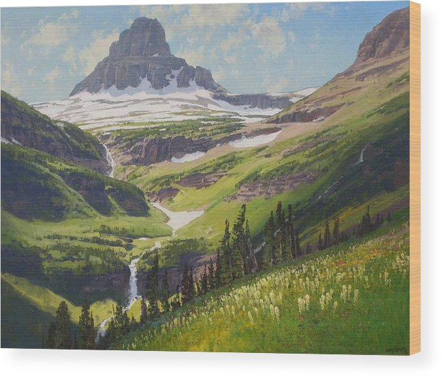 Landscape Wood Print featuring the painting Clements Mountain by Lanny Grant
