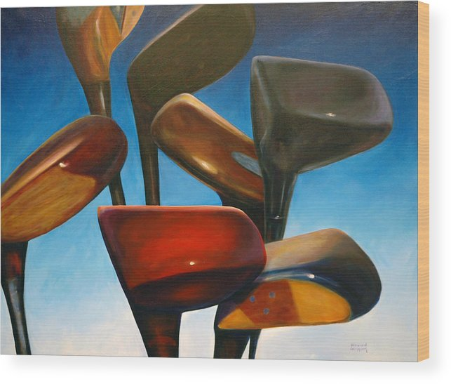 Golf Clubs Brown Wood Print featuring the painting Clubs Rising by Shannon Grissom