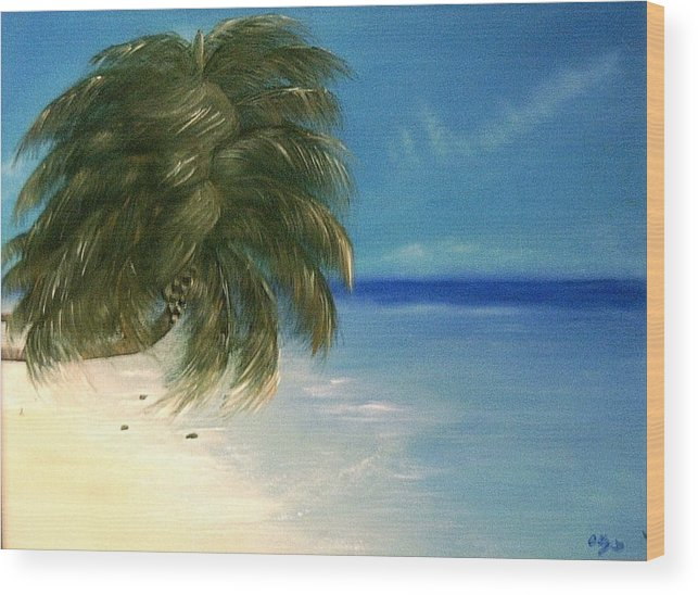 Seascape Wood Print featuring the painting Coconuts And Palm Trees by Ofelia Uz