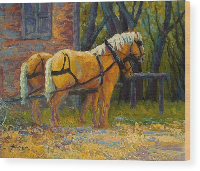 Horses Wood Print featuring the painting Coffee Break - Draft Horse Team by Marion Rose
