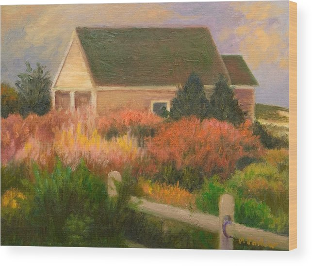 Cape Cod Wood Print featuring the painting Colorful Cottage Cape Cod by Phyllis Tarlow