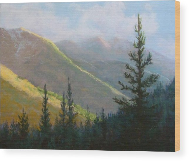 Mountains Wood Print featuring the pastel Comes The Dawn by Debra Mickelson