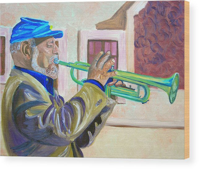 Street Musician Wood Print featuring the painting Confederate Bugular by Michael Lee