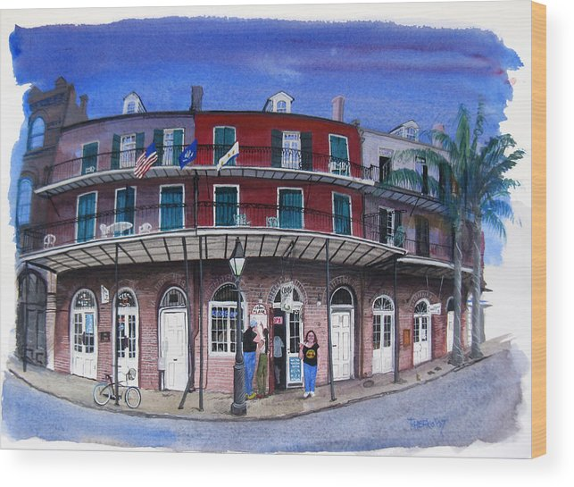 Street Scene Wood Print featuring the painting Coop's Place by Tom Hefko