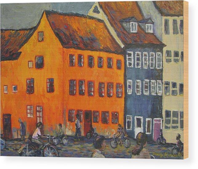 Copenhagen Wood Print featuring the painting Copenhagen by Art Nomad Sandra Hansen