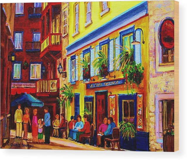Courtyard Cafes Wood Print featuring the painting Courtyard Cafes by Carole Spandau