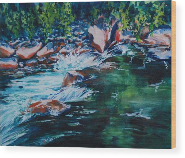 Watercolorcanvas Wood Print featuring the painting Covington Falls by Donna Pierce-Clark