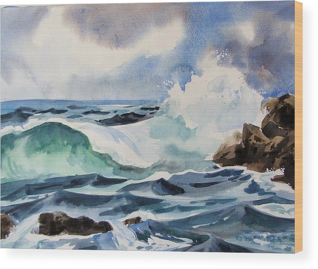 Ocean Wood Print featuring the painting Crashing Wave by Dianna Willman