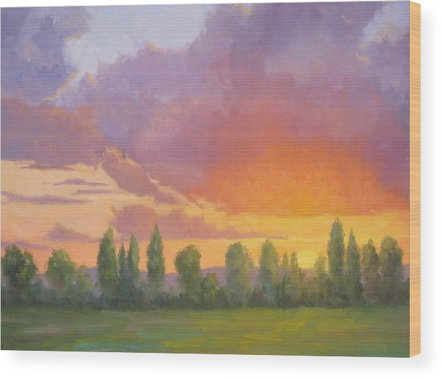 Sunset Wood Print featuring the painting Crescendo by Bunny Oliver