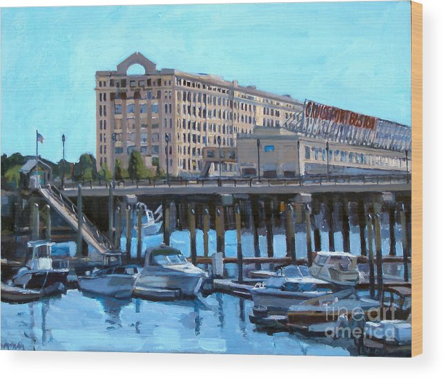 Boston Wood Print featuring the painting Cruiseport Boston by Deb Putnam