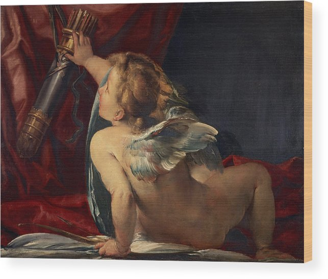 Giulio Wood Print featuring the painting Cupid by Giulio Cesare Procaccini