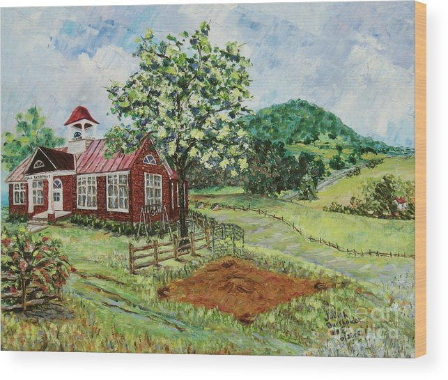 Landscape Wood Print featuring the painting Dale Enterprise School by Judith Espinoza