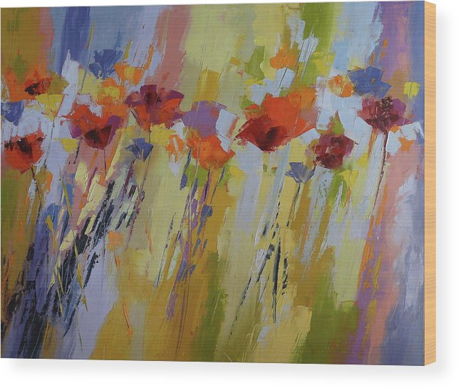 Poppies Wood Print featuring the painting Dancing Ladies by Yvonne Ankerman