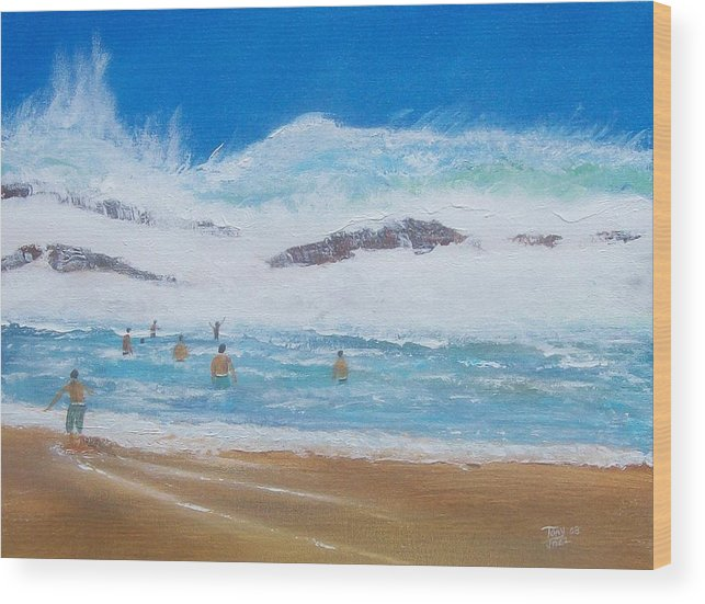 Seascape Wood Print featuring the painting Danger No Swimming by Tony Rodriguez