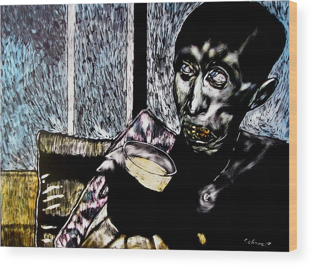Social Commentary Wood Print featuring the mixed media Darfu In Our Living Room by Chester Elmore