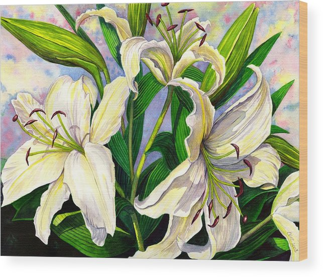Lily Wood Print featuring the painting Daylilies 2 by Catherine G McElroy