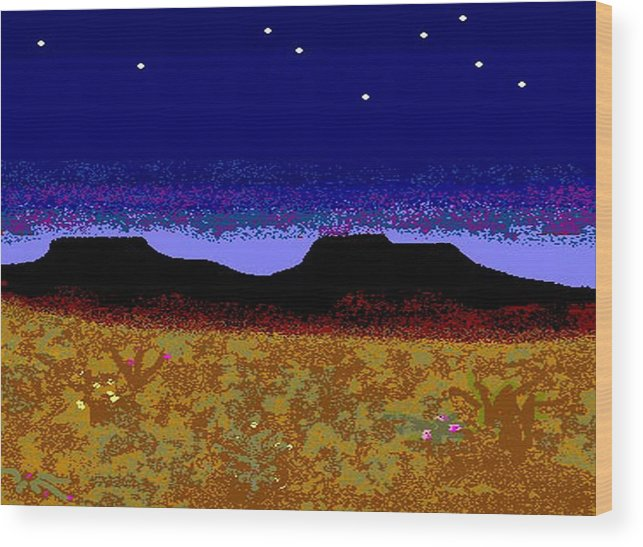 Desert Wood Print featuring the digital art Desert Eve by Carole Boyd