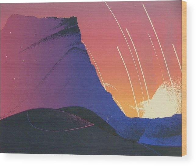 Landscape Wood Print featuring the painting Desert Sunrise by Gary Kaemmer