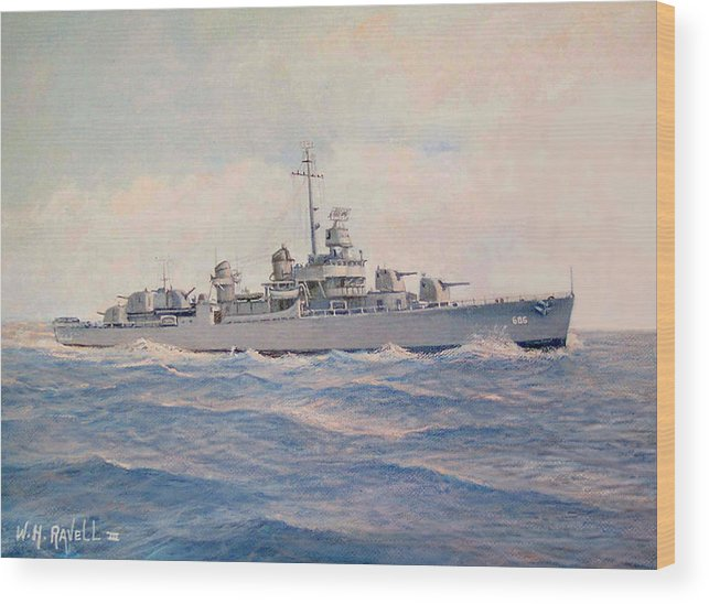 Ships Wood Print featuring the painting Destroyer Halsey Powell by William H RaVell III