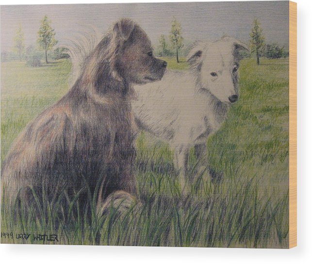 Dogs Wood Print featuring the drawing Dogs In A Field by Larry Whitler