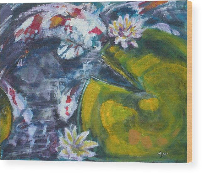Koi Lily Pad Fish Water Waterscape Green Blue Red Acrylic Canvas Wood Print featuring the painting Don't Be Koi by Alan Scott Craig